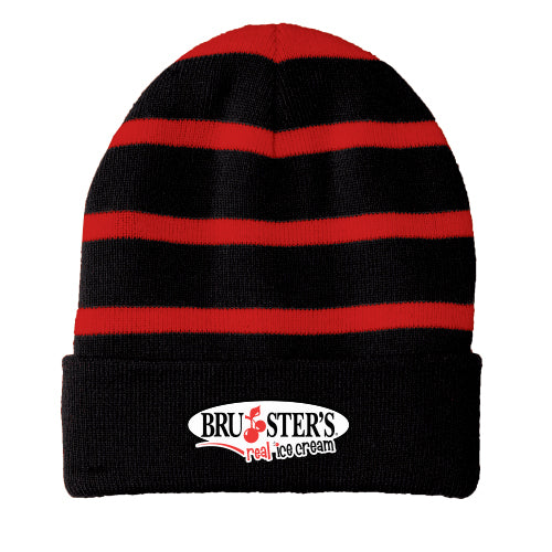 Bruster's Beanie - Black/Red Stripes