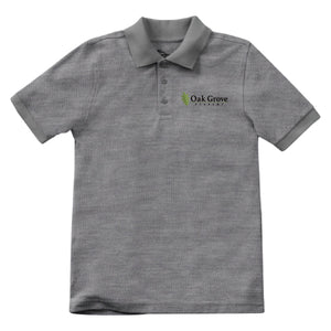 Open image in slideshow, Oak Grove Academy - Unisex S/S Pique Polo (Grey)