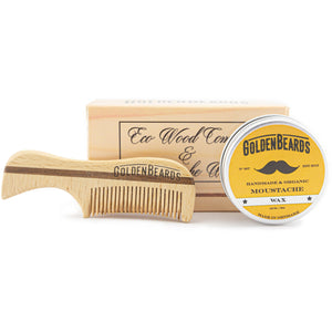 Moustache Wax & Eco Wood Comb 7,5cm