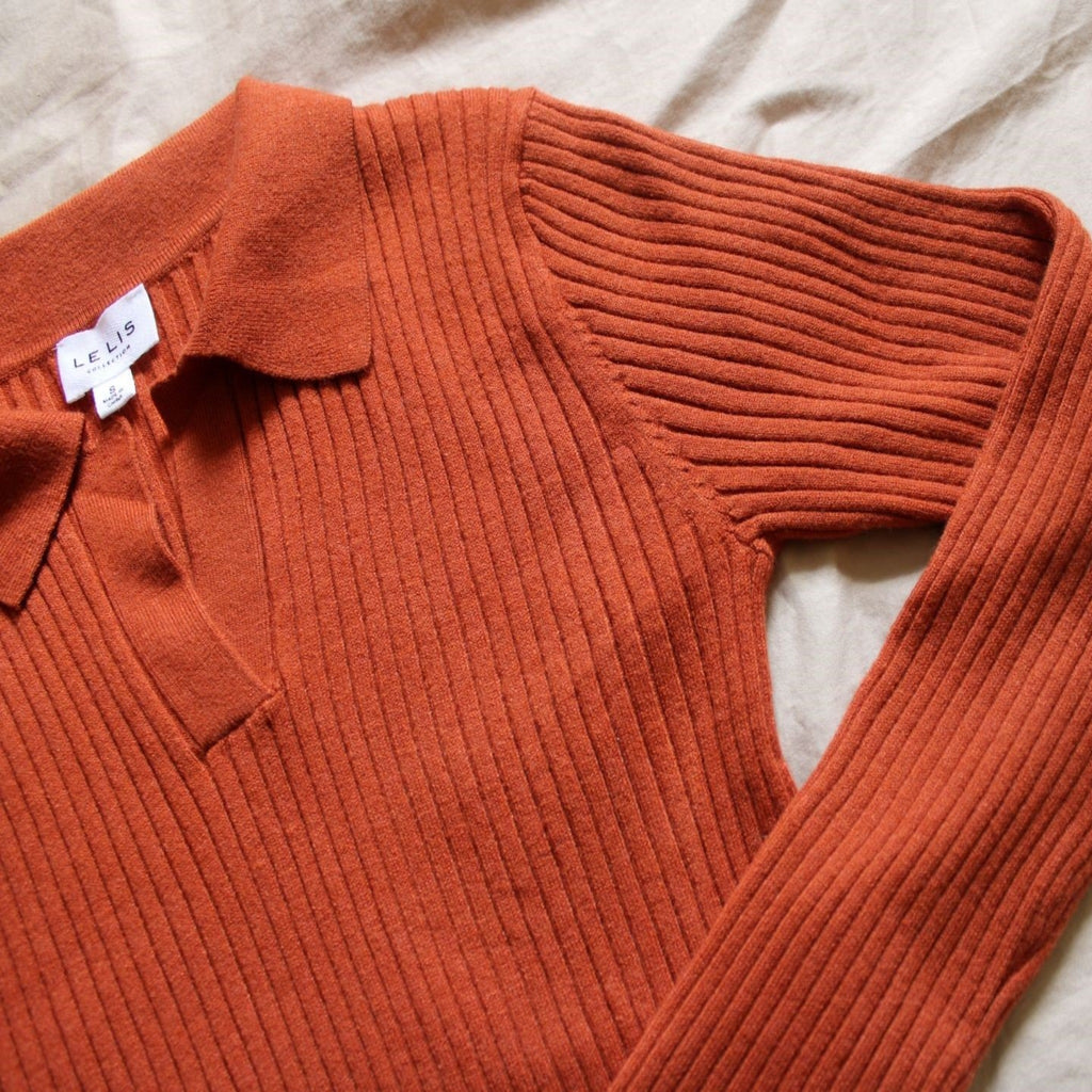 Women's Ribbed Rust Long Sleeve Sweater Top