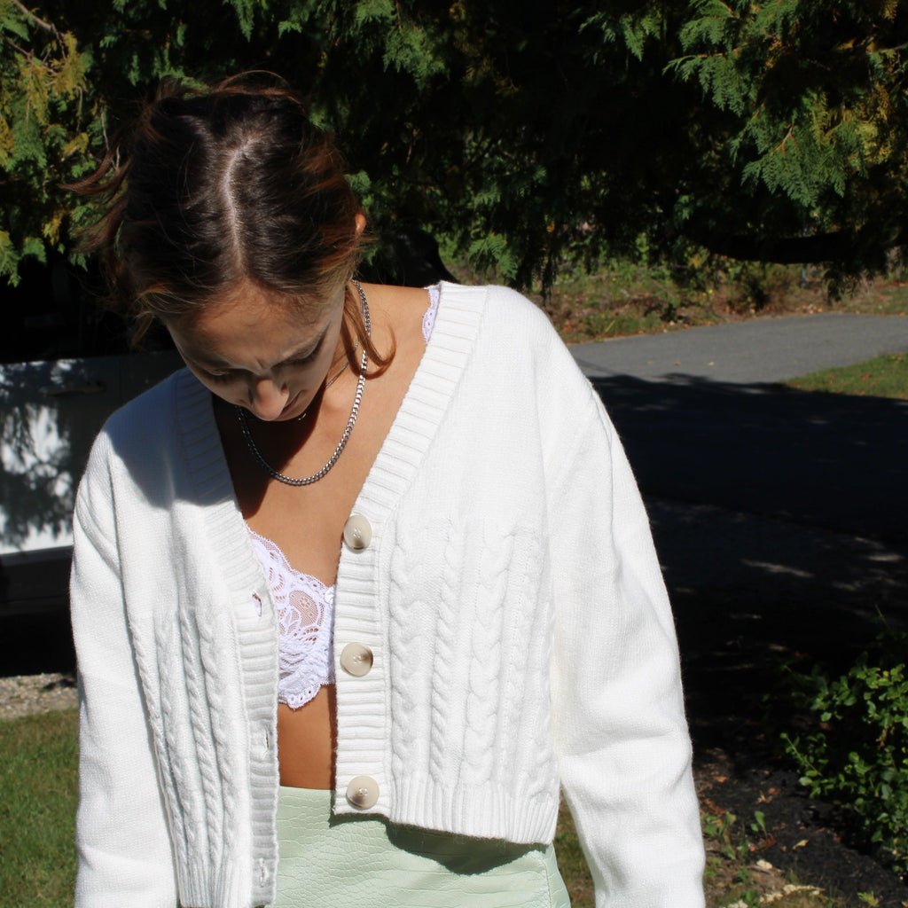 Women's Cropped White Cable Cardigan with button up front