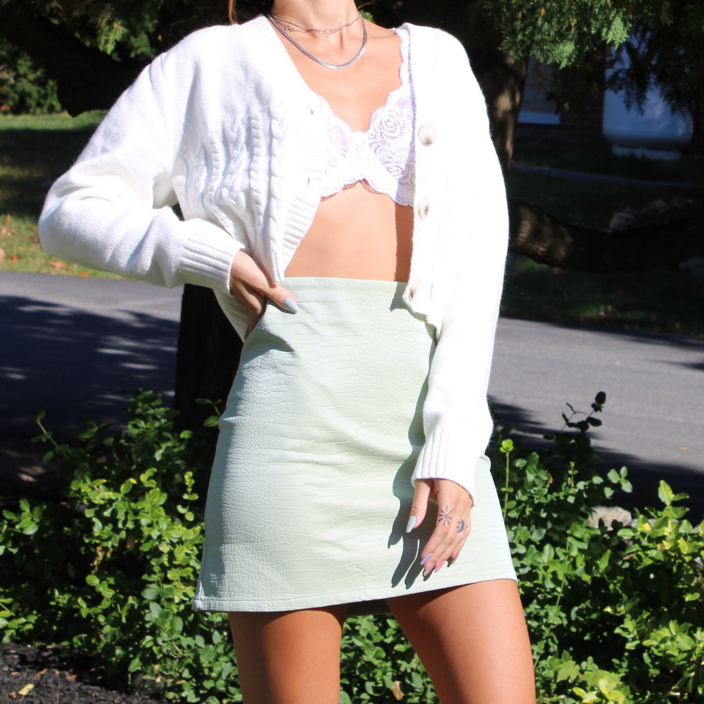 Women's Pistachio Snakeskin print pleather mini skirt