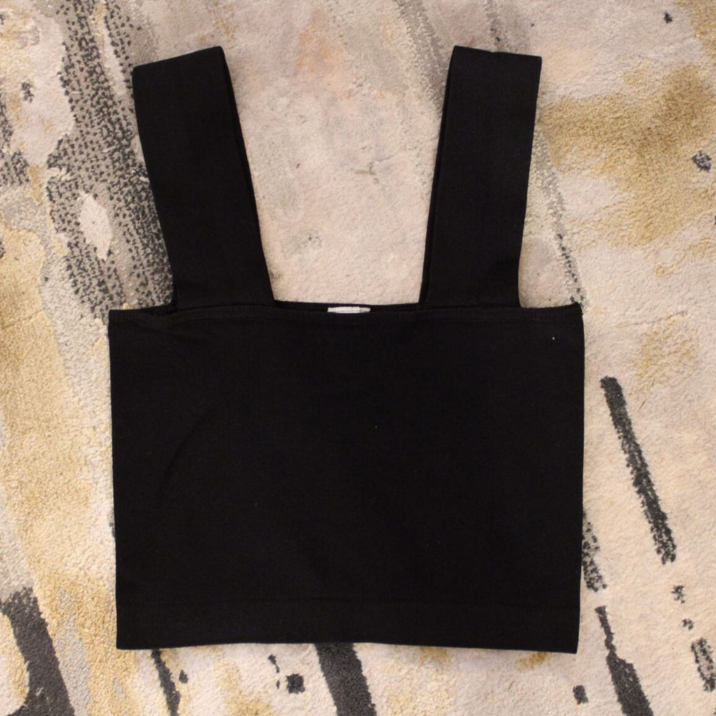 Women's basic Cropped Tank- black
