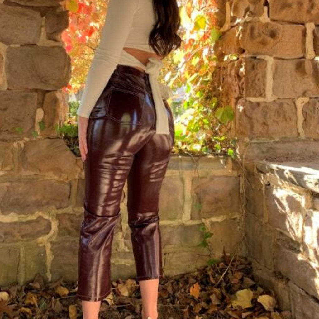 Cropped plum pleather pants.