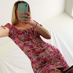 Floral Print Short Sleeve Front Tie lined mini dress.