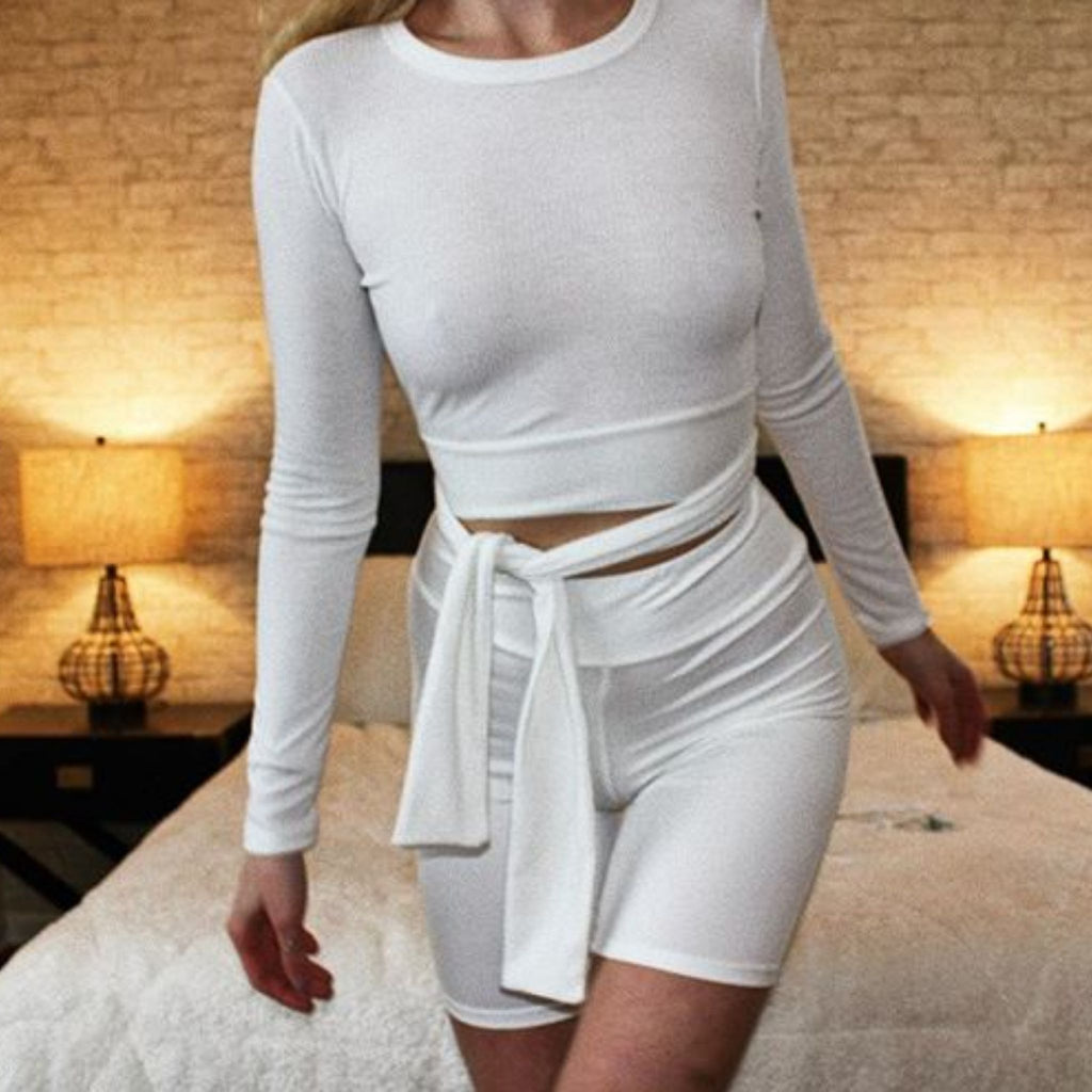 Ivory Tie Top- ribbed long sleeve top featuring a back tie