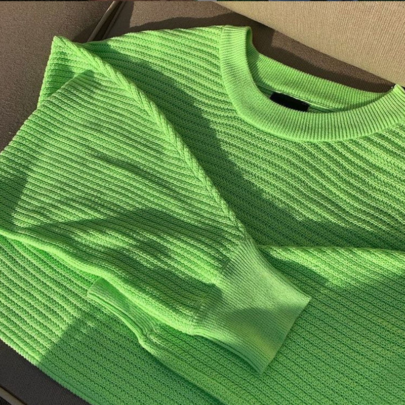 cropped neon green long sleeve knit sweater