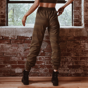 Solid olive high waisted joggers with a drawstring elastic waist.