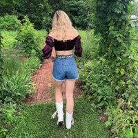 Medium Denim High Waisted Shorts- Unbothered