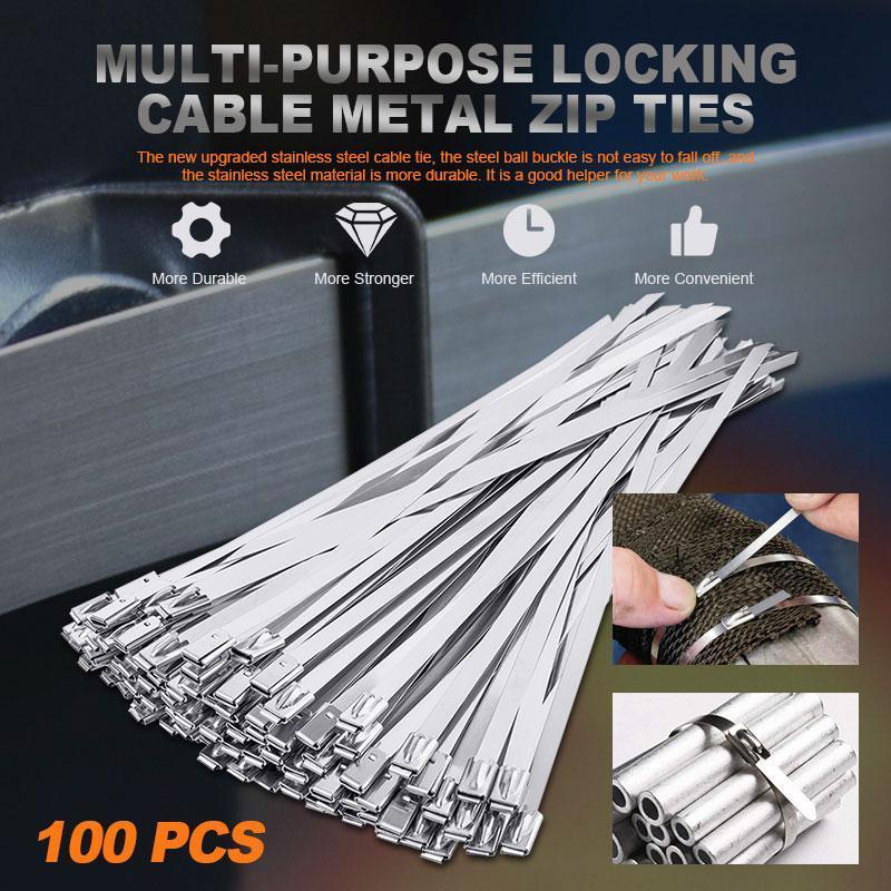 (Factory Outlet)100PCS Multi-Purpose Locking Cable Metal Zip Ties(60% OFF!!)