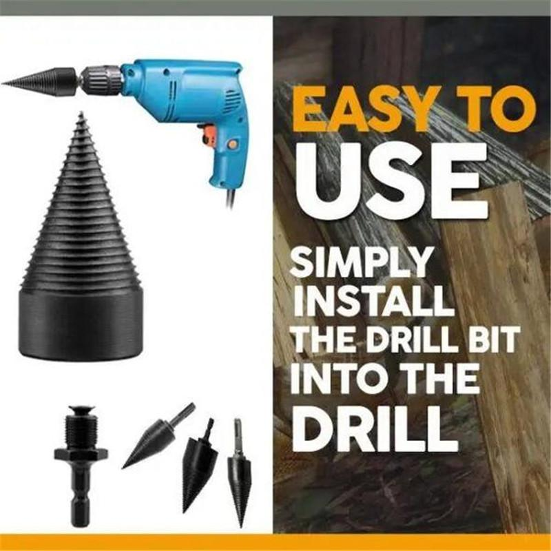 Firewood drill bit with a round shaft