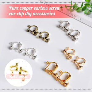 Pure copper earless screw ear clip diy accessories