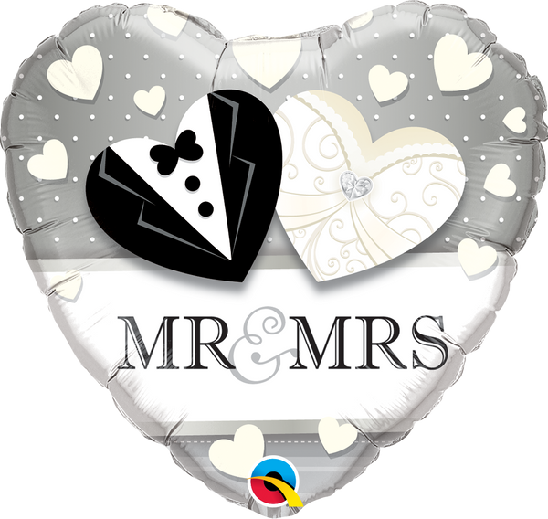 Mr & Mrs Tux & Dress Foil Balloon