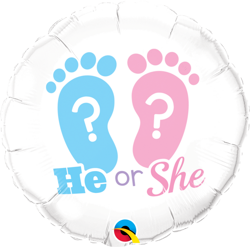 He Or She? Footprints Foil Balloon