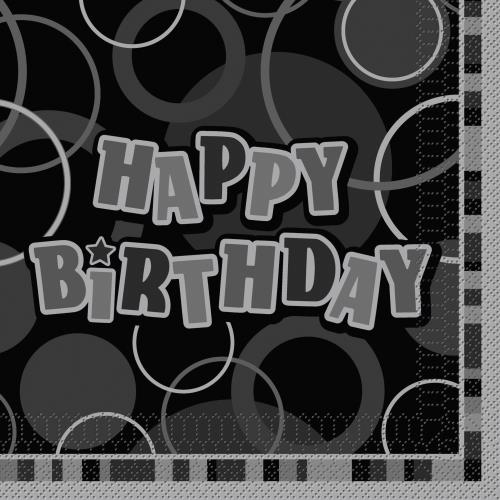 Black & Silver Glitz Happy Birthday Napkins
