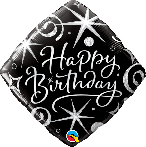 Birthday Elegant Sparkles & Swirls Foil Balloon