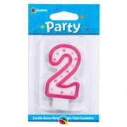 2 Number Shape Candle - Pink