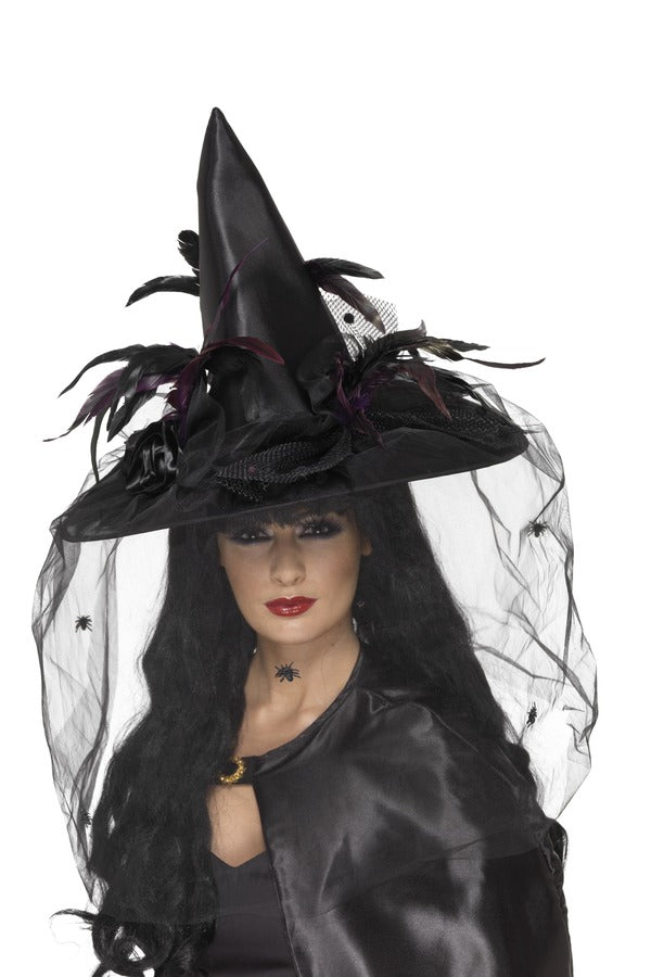 Witch Hat, Feathers & Netting