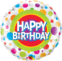 Happy Birthday Colourful Dots Foil Balloon