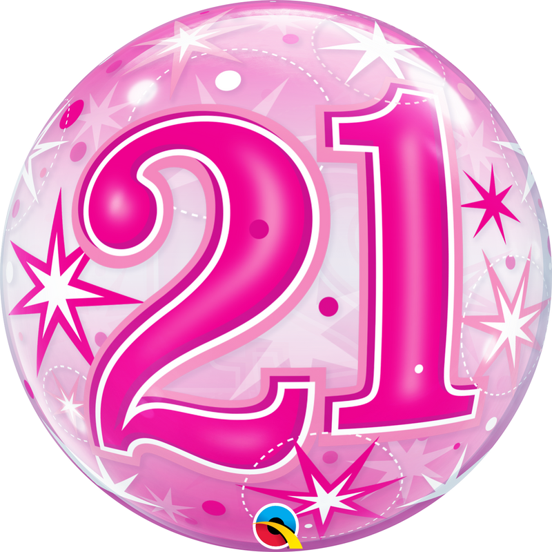 Pink Starburst Sparkle Bubble Balloon 21