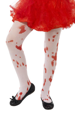 Tights, White, with Blood Stain Print, Age 6-12 - Halloween