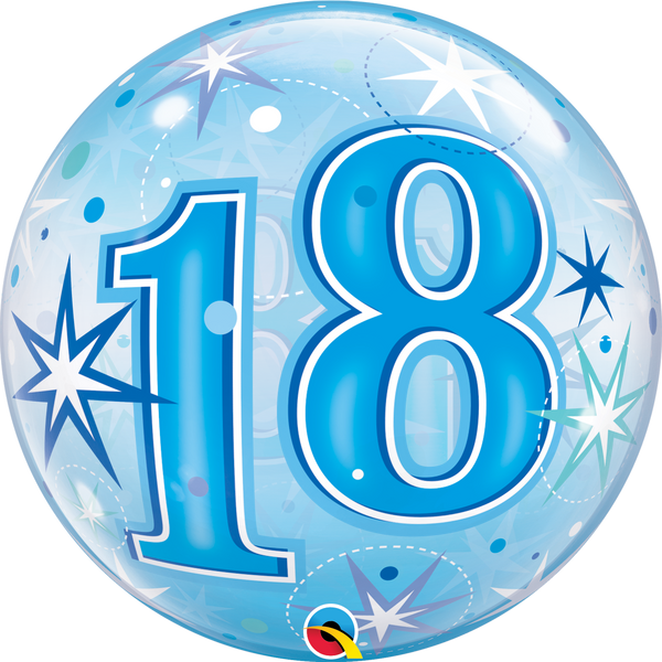 Blue Starburst Sparkle Bubble Balloon 18