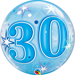 Blue Starburst Sparkle Bubble Balloon 30