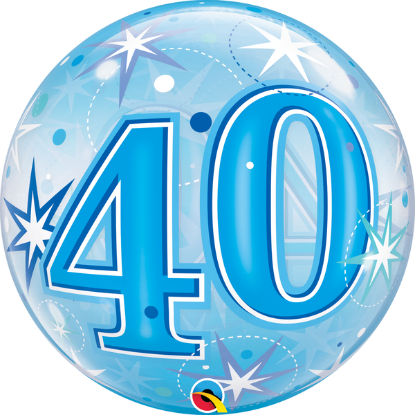 Blue Starburst Sparkle Bubble Balloon 40