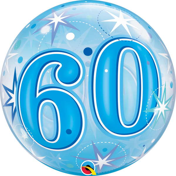 Blue Starburst Sparkle Bubble Balloon 60