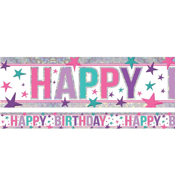 Holographic Foil Banner - Happy Birthday Pink