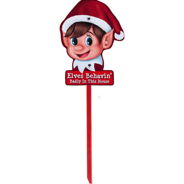 Eves Behavin' Badly - Naughty Elf Garden Sign