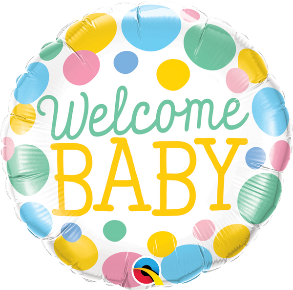 Welcome Baby Dots Foil Balloon