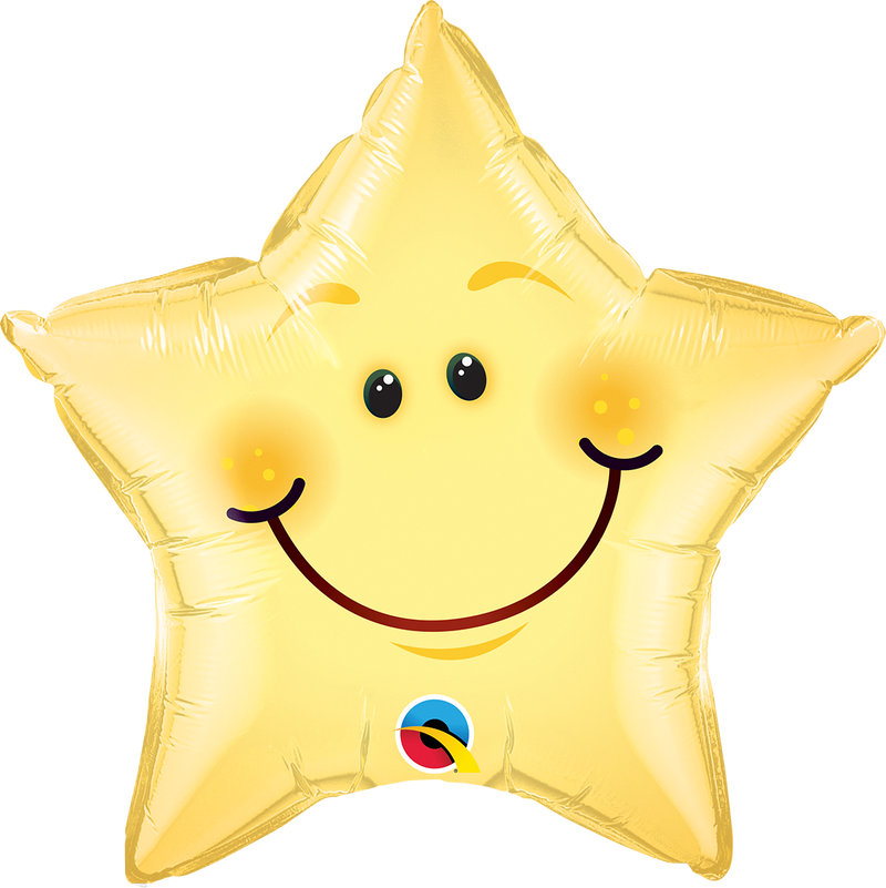 Smiley Face Star Foil Balloon