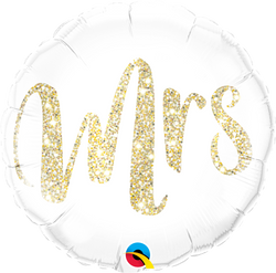 Mrs Glitter Gold Foil Balloon