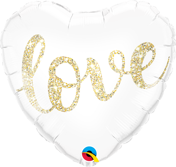 Love Glitter Gold Foil Balloon