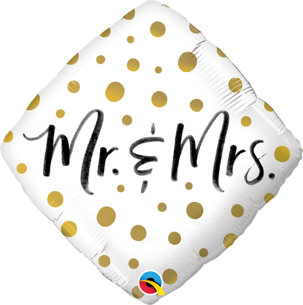 Mr & Mrs Gold Dots Foil Balloon