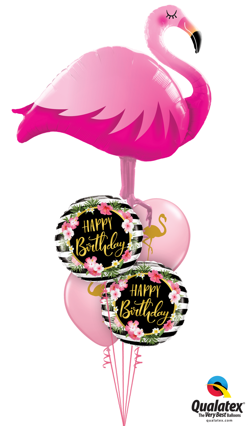 Golden Floral Flamingo Birthday