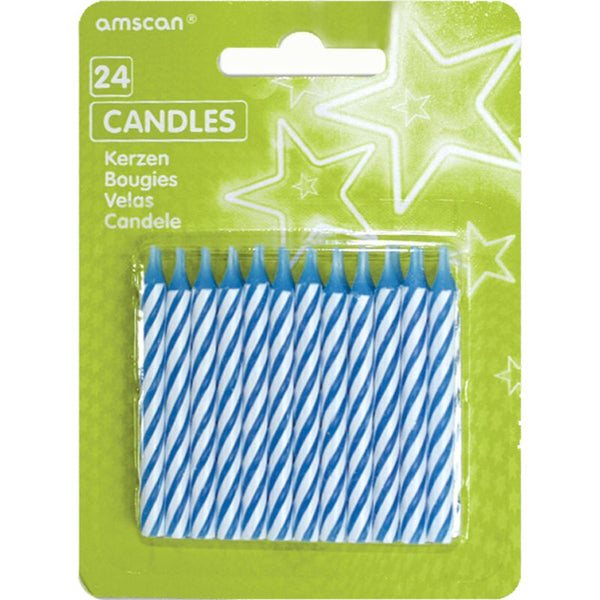Party Candles Blue Stripes