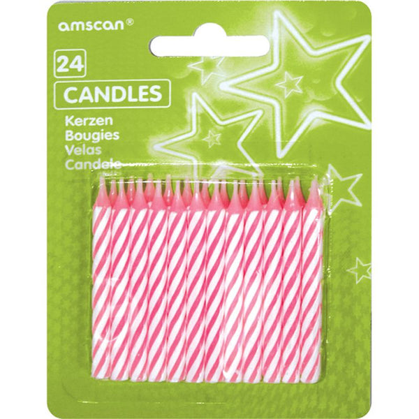 Party Candles Pink Stripes