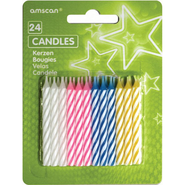 Party Candles Assorted Stripes