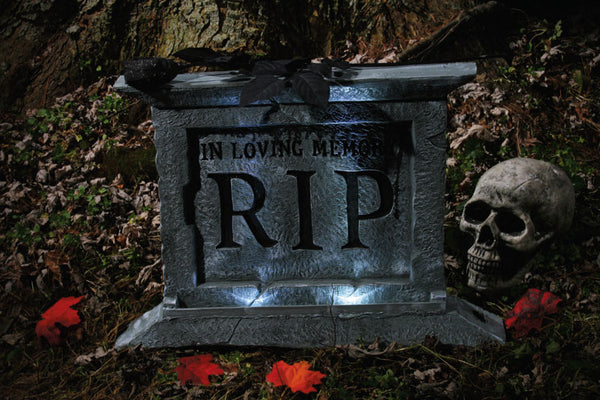 Spooky Tombstone With Black Rose