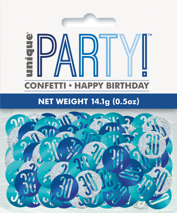 Blue Glitz 30th Birthday Foil Confetti