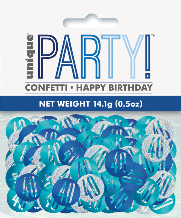 Blue Glitz 40th Birthday Foil Confetti