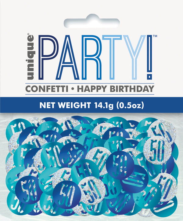 Blue Glitz 50th Birthday Foil Confetti