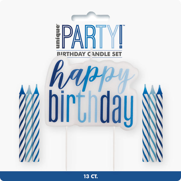 Blue Glitz Happy Birthday Pick & 12 Candles