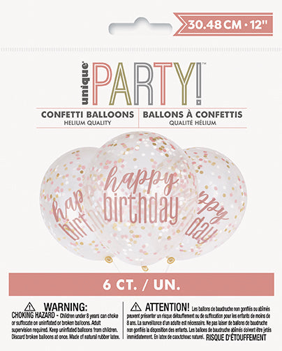Rose Gold Glitz Happy Birthday Confetti Filled Latex Balloons 6pk
