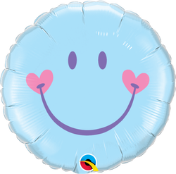 Sweet Smiley Face Pale Blue Foil Balloon