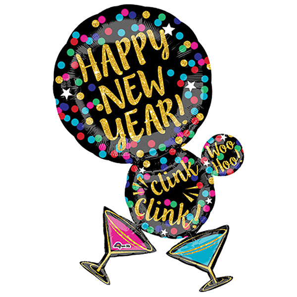 Happy New Year Martini Bubble Super Shape Balloon