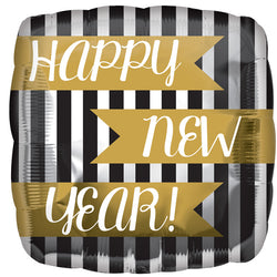 Happy New Year Stripe Foil Balloon