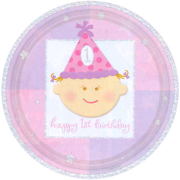 Happy 1st Birthday Girl Plates